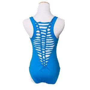 BECCA Blue One Piece Cut Out Open Back Swimsuit